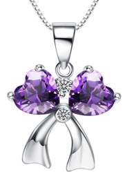 Sterling Silver Necklace Amethyst CZ Platinum Zircon Pendant Pendant with Chain Necklace