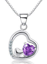 Anti-allergy micro-drop pendant love heart amethyst