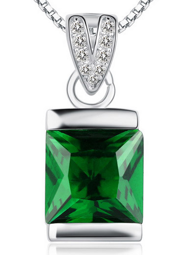 National Wind 925 sterling silver pendant Emerald crystal necklace accessories