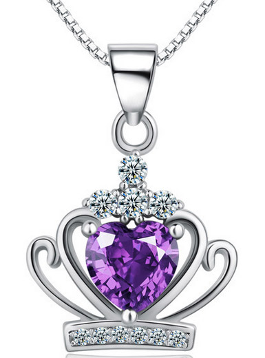 Love Purple Diamond Crown Pendant