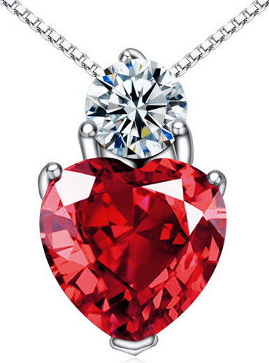 925 sterling silver necklace red crystal female models pendants
