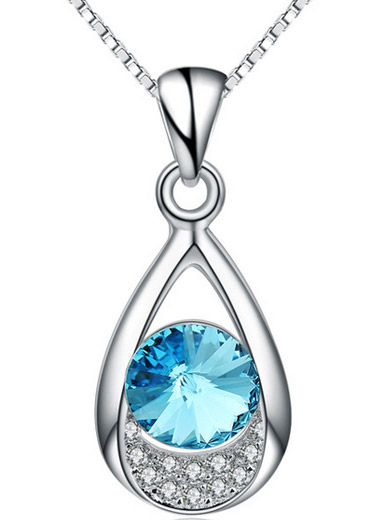925 sterling silver Korean-style drop-shaped zircon Choi Po crystal