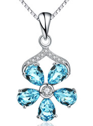 Small plum blossom color blue crystal necklace pendant