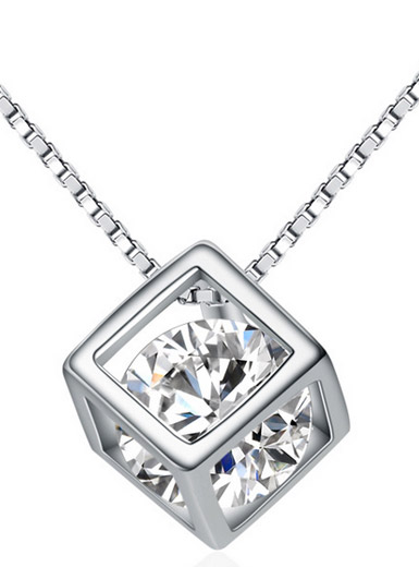 Genuine 925 sterling silver magic cube hollow small pendant