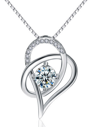 S925Silver Love hollow hollow inlaid zircon pendant