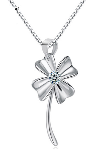 Happy Clover 925 Sterling Silver Necklace Pendant
