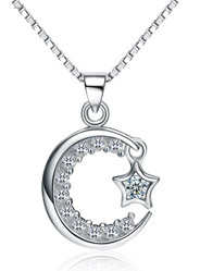 925 sterling silver original Korean version of the moon inlaid hollow pendants