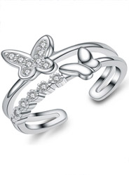 S925 sterling silver micro-inlaid delicate butterfly zircon ring