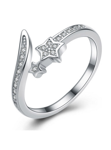 925 Sterling Silver Micropave Zircon Open Ring