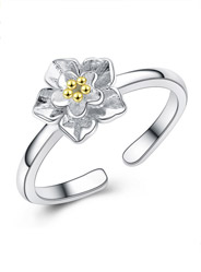 S925 sterling silver chrysanthemum k gold silver opening ring