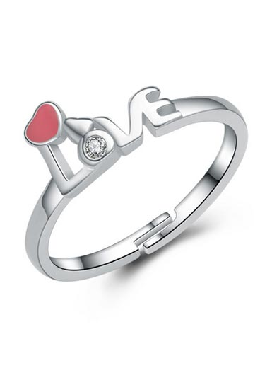 925 Sterling Silver LOVE Love Zircon Open Ring