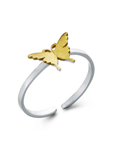 925 sterling silver creative butterfly opening ring