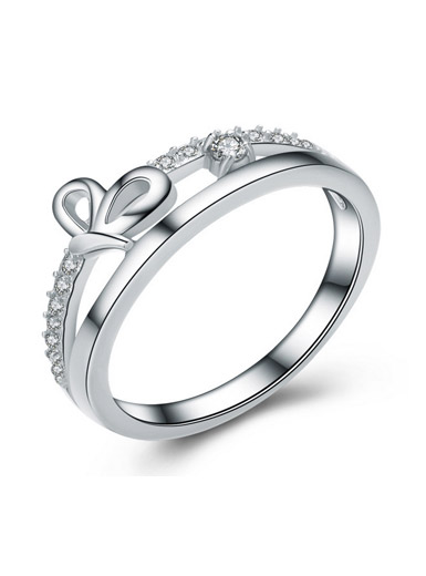 925 sterling silver creative bow female ring