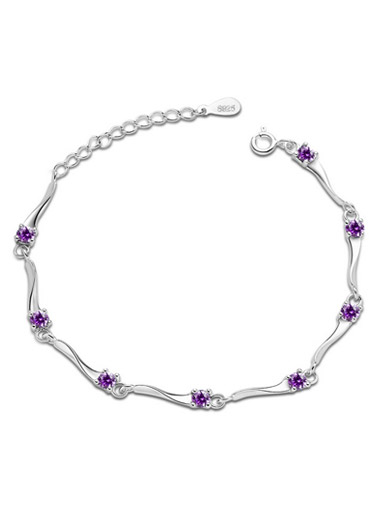 Heart - Shaped Amethyst Bracelet in Sterling Silver