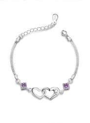 Heart-Shaped Amethyst Bracelet in Sterling Silver