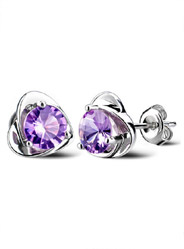 Amethyst Heart Earrings in Sterling Silver
