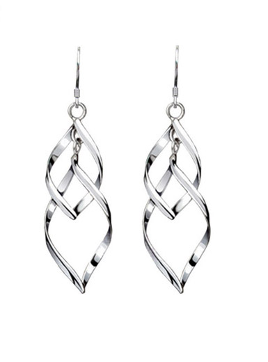 925 sterling silver tassel fringed double earrings