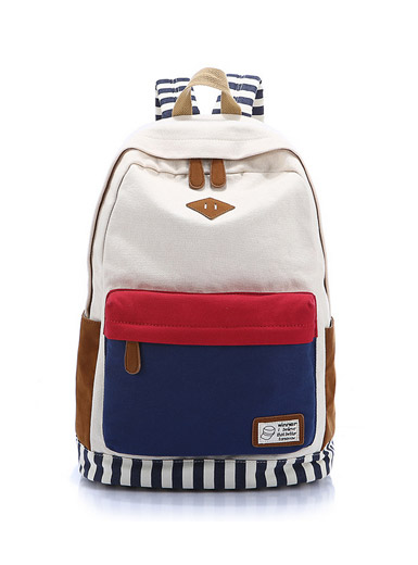 Fashion canvas shoulder bag travel backpack