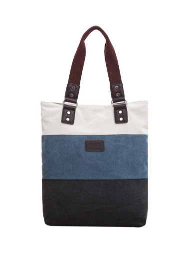 The new vertical section canvas fashion hit color handbag canvas