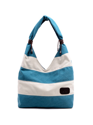 The new striped canvas simple casual wild shoulder bag