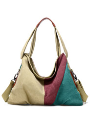 The new canvas simple color collision stitching shoulder Messenger bag