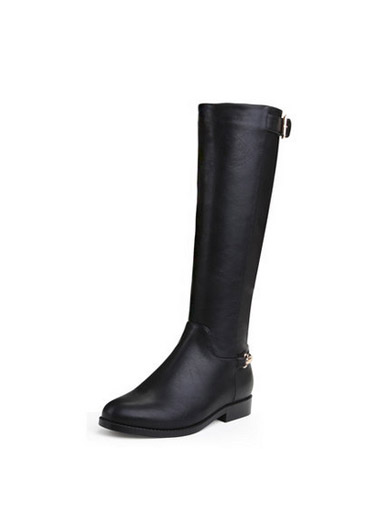 Autumn and winter black plus velvet knee boots