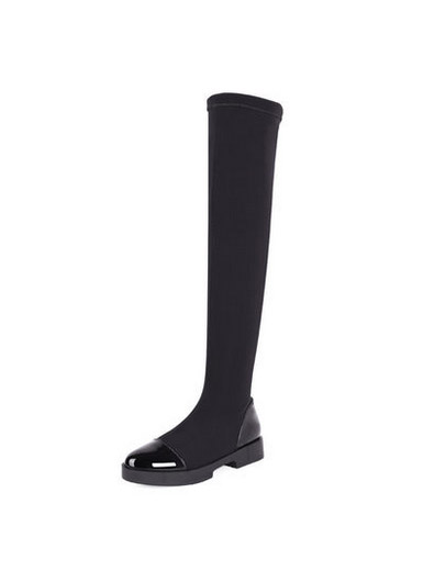 The new patent leather stretch fabric over knee high tube women's boots