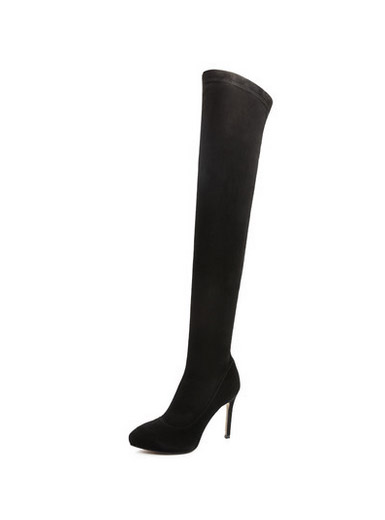 Genuine leather knee zipper high-heeled thin stovepipe stretch boots