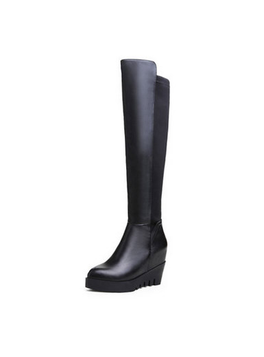 Autumn and winter new leather knee-length stovepipe stretch boots