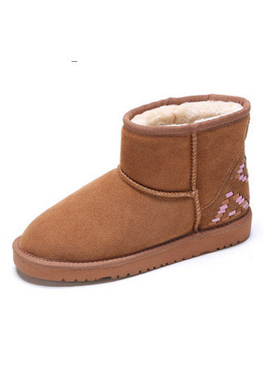 Winter new suede simple knit pattern snow boots