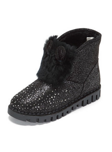 Comfortable flat short tube fashion diamond plush snow boots
