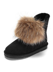 Daphne winter cute fur ball velvet snow boots