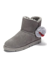 Vivifleurs winter frosted flat with sweet hair ball decorated snow boots