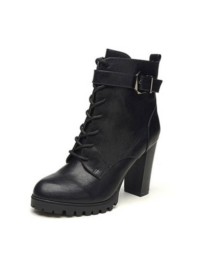 Daphne high-heeled round side zipper belt buckle Martin boots
