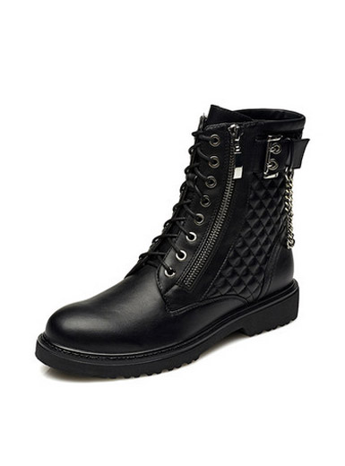 Daphne tide female boots British round head with zipper Martin boots
