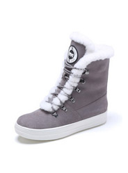 Plush flat top high casual round head suede with short tube women 's boots