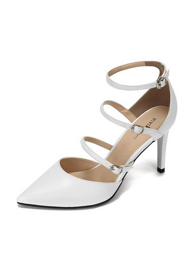 Daphne spring and summer simple thin temperament pointed word buckle with ultra-high heel shoes