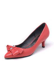 Daphne new comfortable pointed bow shallow leather female high heels