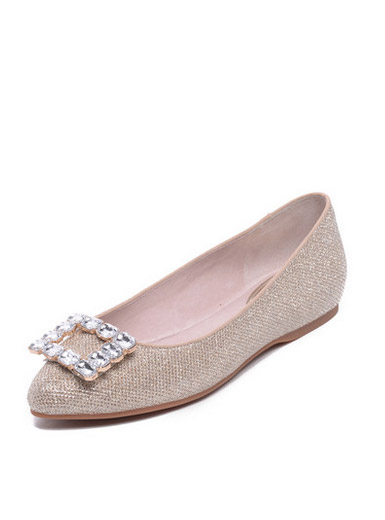 Daphne new sweet side buckle diamond low-heeled flat shoes