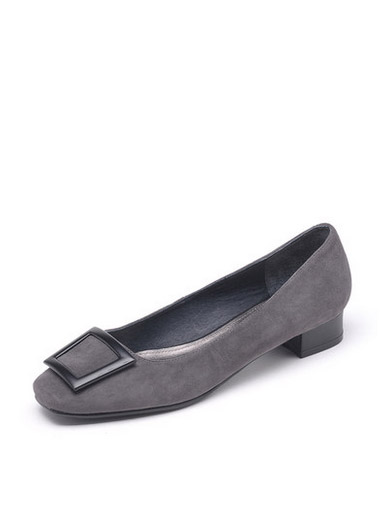 Daphne simple side buckle with low-cut sheepskin real leather flat-bottomed shoes