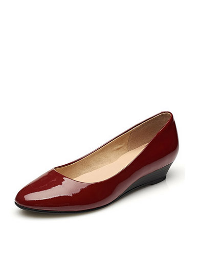 Daphne genuine round shallow shallow slope slope with plain patent leather flat commuter shoes