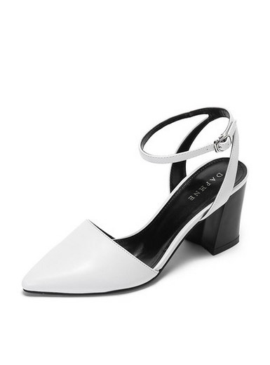 Daphne spring and summer with a simple simple thick temperament pointed word high-heeled sandals