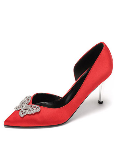Daphne spring and summer elegant fine with high heels sexy pointed butterfly diamond shallow mouth single shoes
