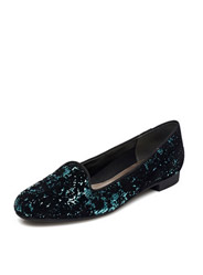 Daphne casual round head sequins in the mouth with solid color square feet with a single shoe