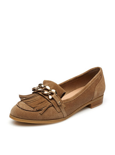 Daphne genuine rough with fringed metal surface decoration deep flats fashion flat shoes