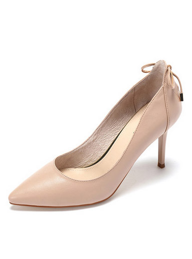 Daphne spring and summer new comfortable sheepskin high-heeled shoes simple pointed bow thin with a single shoe