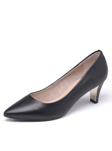 Daphne Du Lala pointed sheepskin shallow leather thick with comfort comfortable heels
