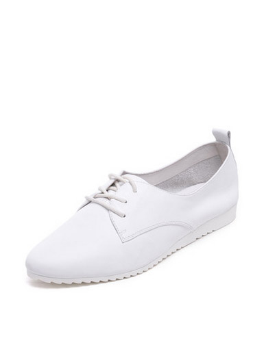 Daphne simple round head with flat-bottomed leather female casual shoes