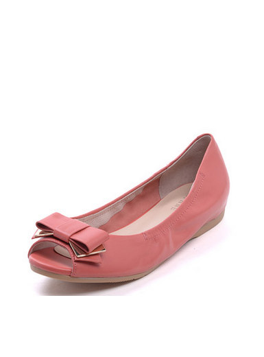 Daphne leather sweet round bow flat bottom fish head flat shoes