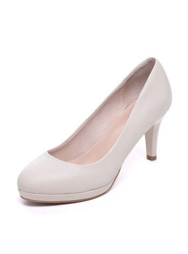 Daphne leather elegant round head with elegant small shallow heel high heel shoes